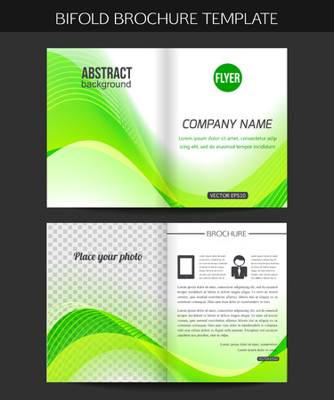 bifold: Corporate business stationery template. Abstract bifold brochure design. Vector illustration. Illustration