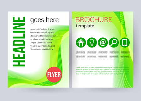 magazine cover: Corporate business stationery brochure templates. Modern back and front flyer backgrounds with place for text and place for photo. Vector illustration.
