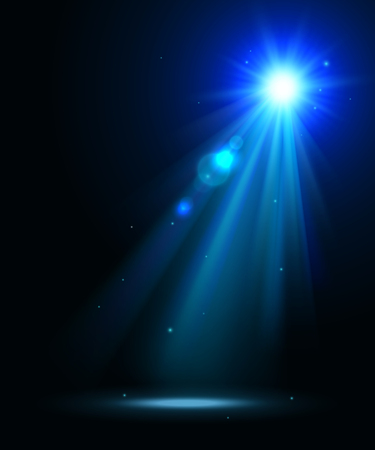 Abstract disco background with blue spot lights and bright rays.