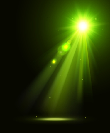 Abstract disco background with green spot lights and bright rays.