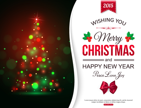 christmas party: Christmas shining typographical background with xmas tree lights and place for text. Vector illustration.