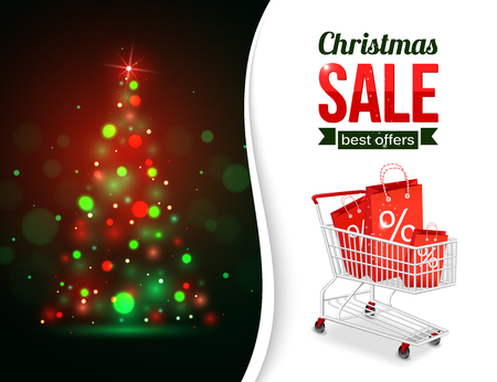 typographical: Christmas sale shining typographical background with xmas tree lights and place for text. Vector illustration.