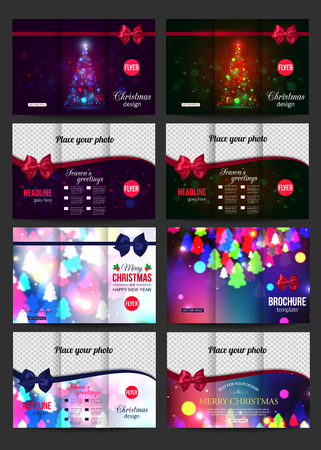 Christmas brochure templates. Abstract flyer design with blurred bokeh lights and place for text. Back and front sides. Vector illustration. Illustration