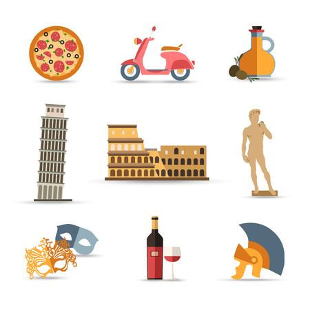 Set of Italy isolated travel colorful flat icons, Italy symbols for your design. Vector illustration. Vettoriali