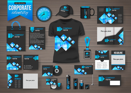 catalog templates: Corporate identity business photorealistic design template over wooden background. Classic geometric stationery template design. Watch, T-shirt, cap, flag, package and Documentation for business. Vector illustration.