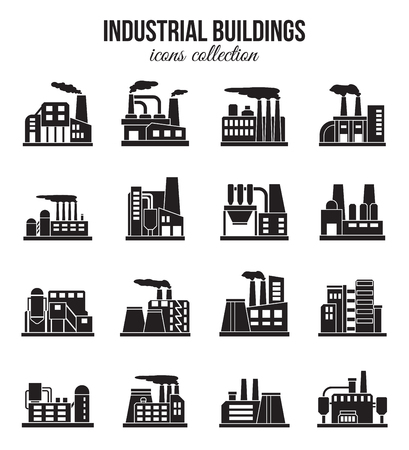 manufactory: Set of industrial manufactory buildings icons set. Plant and factory, power and smoke, oil and energy, nuclear manufacturing station. Vector illustration