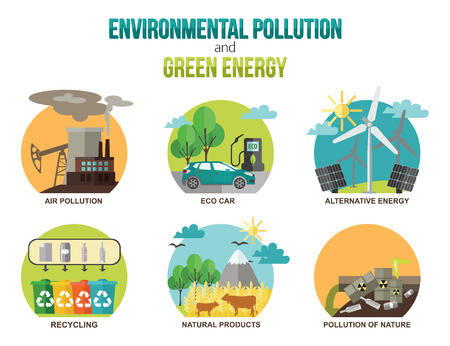 lands: Environmental pollution and green energy ecology concepts. Air pollution, eco car, alternative energy, recycling, natural products, pollution of nature. Flat style design. Vector illustration.