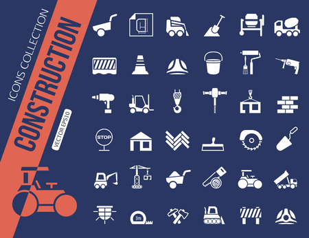 industrial construction: Construction icons collection. Vector illustration Illustration