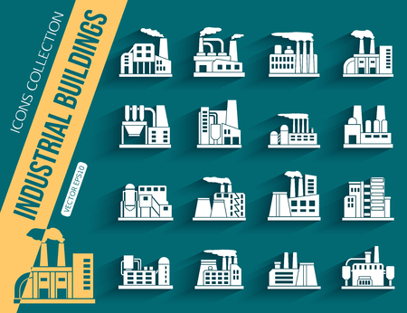 manufactory: Set of industrial manufactory buildings icons set. Plant and factory, power. smoke, oil.  energy, nuclear manufacturing station. Vector illustration Illustration