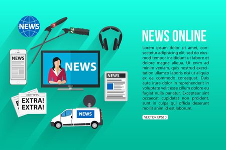 news: News online flat design concept with place for text. Journalism icons set. Vector illustration.