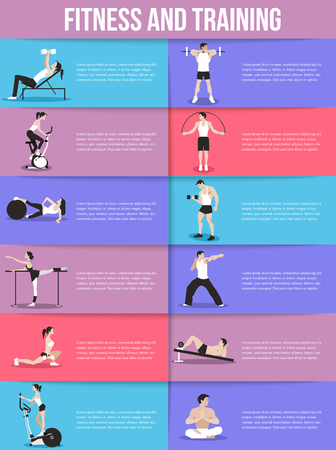 fitness equipment: Training people icons set for sport and fitness infographics, presentation templates, web and mobile apps. Flat style design. Vector illustration.