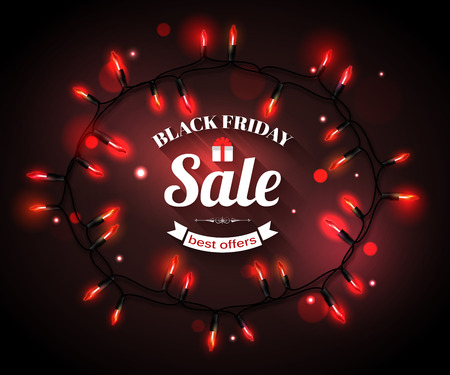 xmas: Black Friday Sale shining typographical background with christmas light bulbs. Vector illustration.