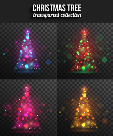 bright light: Set of transparent shining christmas trees for holiday design. Vector illustration.