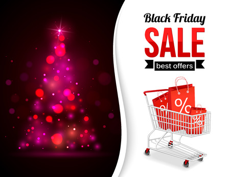 cart: Black Friday Sale shining typographical background with xmas tree lights, shopping cart and place for text. Vector illustration. Illustration