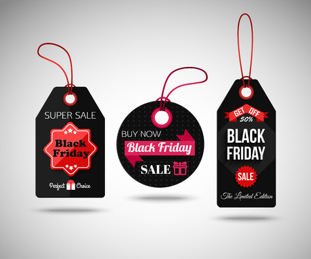 black banner: Black Friday Sale paper tags. Isolated labels. Vector illustration.
