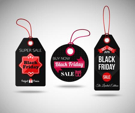 schwarz: Black Friday Sale Papier-Tags. Isolated Etiketten. Vektor-Illustration.