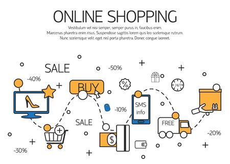 Online winkelen schets concept van de aankoop van proces in de online winkel. Vector illustratie. Stock Illustratie