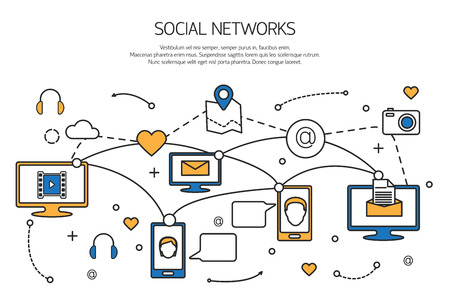 network and media: Social network outline concept of communication process in internet, mobile phones, computers. Vector illustration.