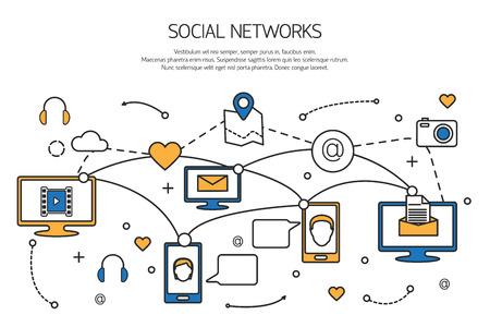 kommunikation: Sociala nätverk kontur begreppet kommunikationsprocessen av internet, mobiltelefoner, datorer. Vektor illustration.