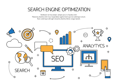 keywords link: Search engine optimization technology outline concept,  user web search experience. Vector illustration.