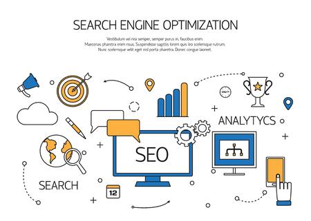 klik: Zoekmachine optimalisatie-technologie overzicht concept, de gebruiker zoeken op het web ervaring. Vector illustratie.