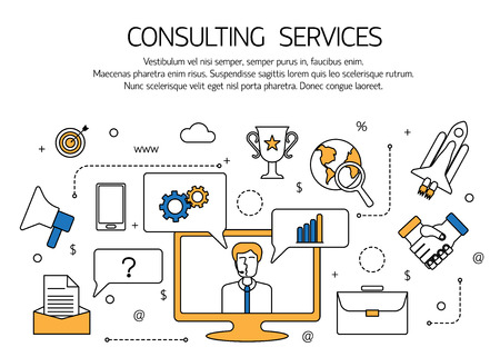 consulting services: Consulting services outline concept,  technical support, online call center. Vector illustration.