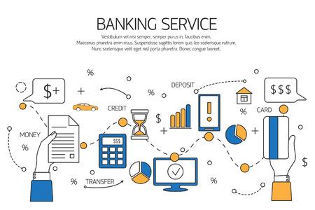 Concepto de servicio de Banca contorno, depósito, crédito, transferencia de dinero. Ilustración del vector.