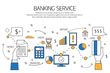 Banking service outline concept,  deposit, credit, money transfer. Vector illustration.