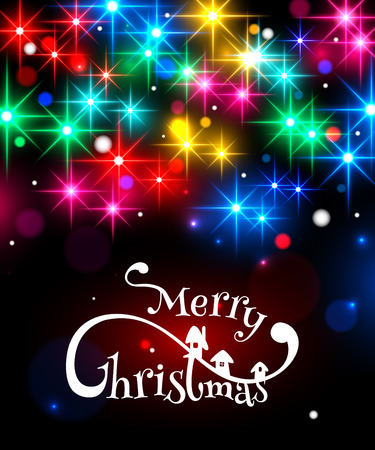 typographical: Merry Christmas typographical background with shining blurred bokeh lights and glowing colorful stars. Vector illustration.