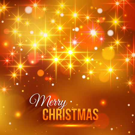 typographical: Merry Christmas typographical background with shining blurred bokeh lights and glowing golden stars. Vector illustration.