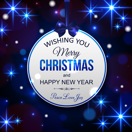 typographical: Merry Christmas and Happy New Year typographical background with shining blurred bokeh lights and glowing stars. Blue Christmas background. Vector illustration