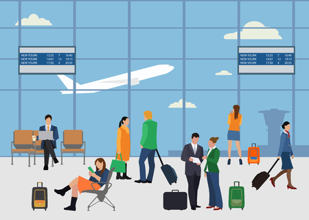 schedule: People in airport flat style design vector illustration. Man and woman talking at the airport. Business people in airport. Business travel concept.