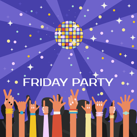 youth: Friday youth party vector illustration with lots of hands and disco ball. Flat style design.