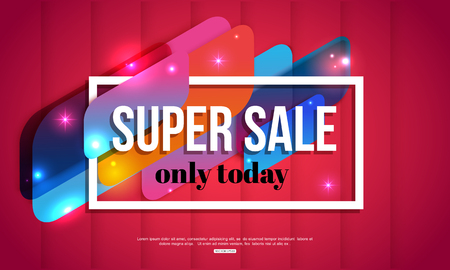 Super Sale shining banner on red background. Vector illustration.