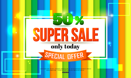 offer: Super Sale shining banner on colorful background. Super Sale and special offer. Vector illustration.