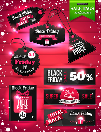Black Friday Sale paper tags, labels and banners collection. Christmas Sale. Vector illustration.