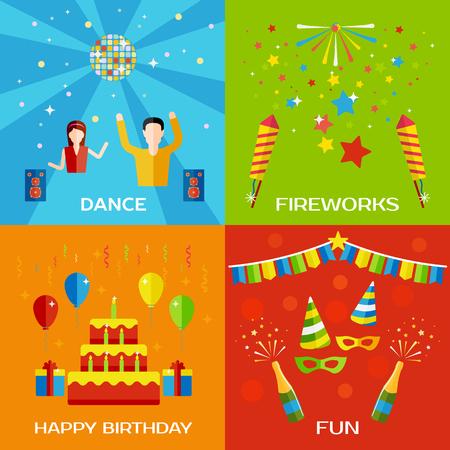 baile: Partido, danza, fuegos artificiales, feliz cumpleaños concepto de estilo plana banners de diseño con la gente del baile, globos, decoraciones de cumpleaños. ilustración vectorial