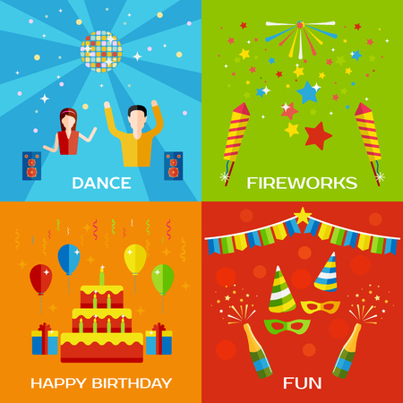 dancing: Party, Dance, Fireworks, Happy Birthday concept flat style design banners with dancing people, balloons, birthday decorations. Vector illustration