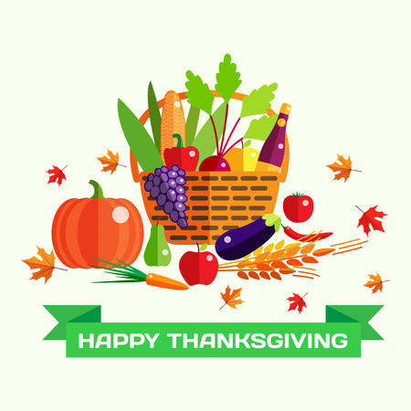 basket icon: Happy Thanksgiving day vector greeting card with harvest, pumpkin, vegetables, falling autumn leaves. Thanksgiving background. Illustration