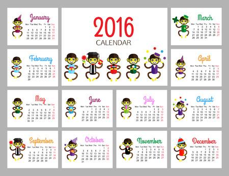 mono caricatura: calendario de escritorio plantilla de impresi�n de vectores con monos divertidos que llevan ropa diferente. El a�o del mono. Calendario de dise�o de dibujos animados para los ni�os. Ilustraci�n del vector.