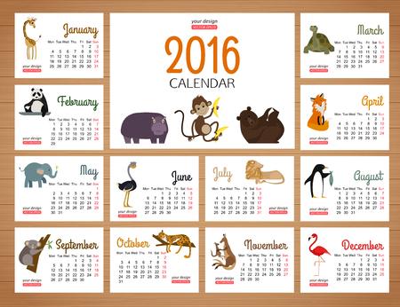 zoologico: calendario de escritorio plantilla de impresión del vector con los animales del zoológico. Calendario de diseño de dibujos animados para los niños.