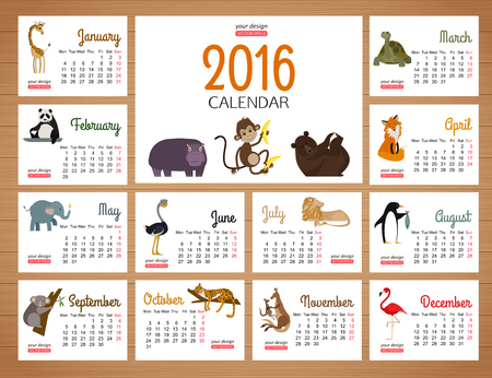 desk calendar: desk calendar vector print template with zoo animals. Cartoon design calendar for children. Illustration