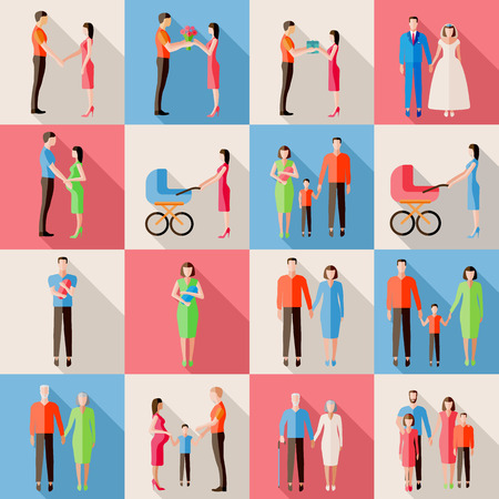 Set of family icons. Flat style design. Married couples, parents with children, pregnant woman, elderly people. Vector illustration