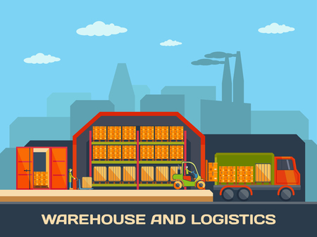 warehouse building: Logistics and warehouse building with trucks and goods, shipping and delivery. Flat style design vector warehouse banner.