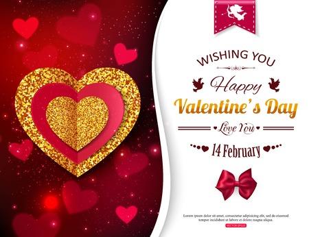 corazon: Fondo de Valentín con oro y corazones rojos. Invitación de la fiesta de San Valentín. Cartel del Día de San Valentín, para las promociones. Cupido y Amor Mágico. ilustración.