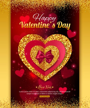 blurring: Valentines Day Gold Background. Red and gold heart. Blurring background with glowing hearts. Valentines Day poster,  for promotions. Valentines Day party invitation.  Illustration