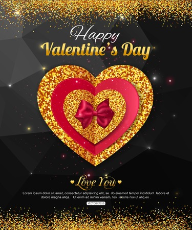 Valentines Day party invitation. Red and gold heart on dark background. Valentines Day Poster, for promotions.  14 february poster. Magic Love background with hearts and stars.  Illustration