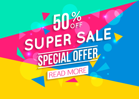 Event: Super Sale shining banner on colorful background. Geometric design. Super Sale and special offer. 50% off.