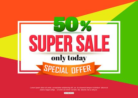 Super Sale banner on colorful background. Geometric design. Super Sale and special offer. 50% off.  Illustration