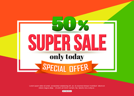 Super Sale banner on colorful background. Geometric design. Super Sale and special offer. 50% off.  Иллюстрация